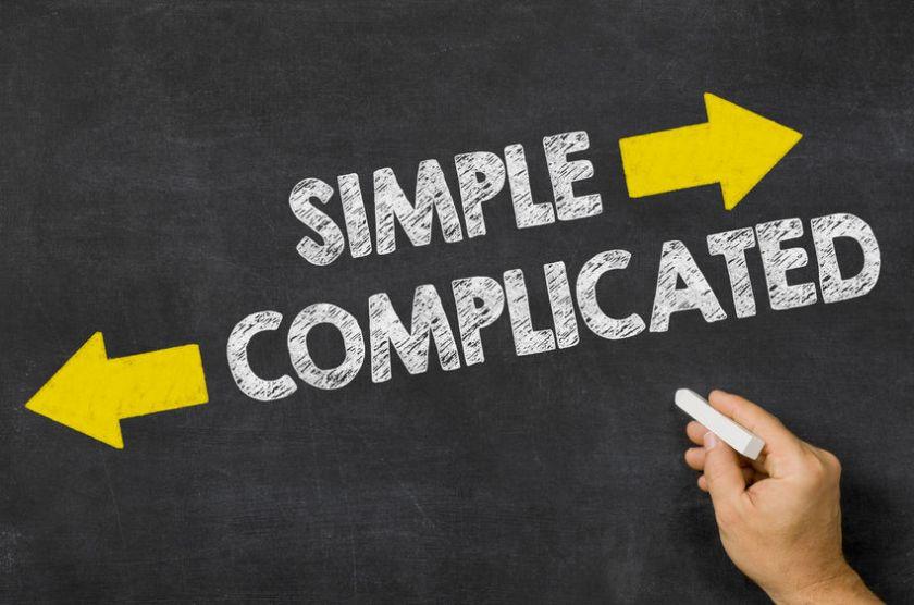 39538300 - simple or complicated written on a blackboard